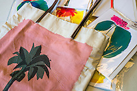 A bag and greeting cards from the 'Daun With It' collection on display in Nala Designs in Bangsar, Kuala Lumpur, Malaysia, on 18 August 2015. Nala Designs, by founder and designer Lisette Scheers, is inspired by Malaysia's melting pot of Chinese, Malay and Indian cultures. Photo by Suzanne Lee for Monocle