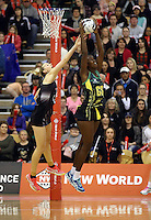 14.09.2016 Silver Ferns Katrina Grant and Jamacia's Shantal Slater in action during the Taini Jamison netball match between the Silver Ferns and Jamaica played at Arena Manawatu in Palmerston North. Mandatory Photo Credit ©Michael Bradley.