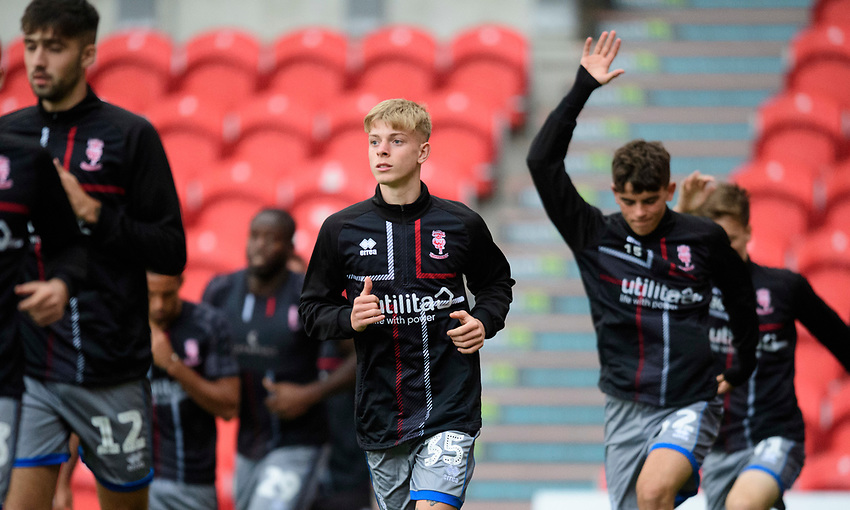 Lincoln City's Joshua Woodcock during the pre-match warm-up<br /> <br /> Photographer Chris Vaughan/CameraSport<br /> <br /> EFL Leasing.com Trophy - Northern Section - Group H - Doncaster Rovers v Lincoln City - Tuesday 3rd September 2019 - Keepmoat Stadium - Doncaster<br />  <br /> World Copyright © 2018 CameraSport. All rights reserved. 43 Linden Ave. Countesthorpe. Leicester. England. LE8 5PG - Tel: +44 (0) 116 277 4147 - admin@camerasport.com - www.camerasport.com