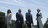 (L-R) US First Lady Melania Trump, US President Donald J. Trump, Polish President Andrzej Duda and Polish First Lady Agata Kornhauser-Duda watch a flyover by US Lockheed Martin F35 planes from the South Lawn after particvipating in a signing ceremony in the Diplomatic Reception Room of the White House in Washington, DC, USA, 12 June 2019. President Trump and President Duda signed an agreement to increase military to military cooperation including the purchase of F-35 fighter jets by Poland and an increased US troop presence in Poland. <br /> Credit: Shawn Thew / Pool via CNP