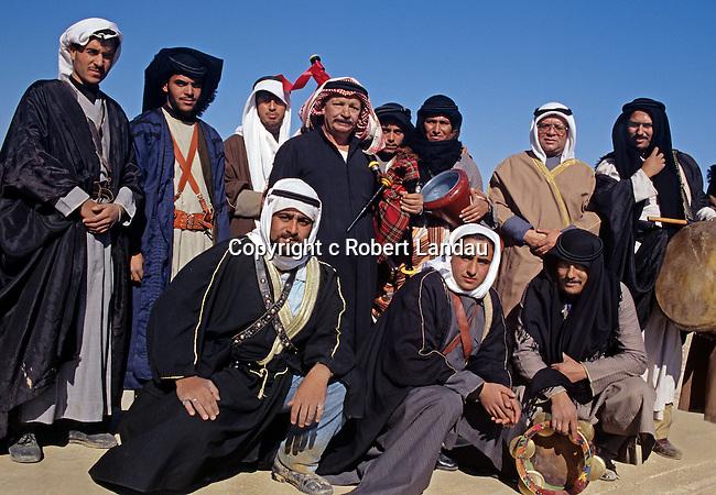 A group of Bedouin men in the desert outside Aman, Jordan