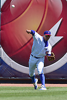John Andreoli (2) of the Iowa Cubs throws the ball back to the infield against the New Orleans Zephyrs at Principal Park on April 23, 2015 in Des Moines, Iowa.  The Zephyrs won 9-2.  (Dennis Hubbard/Four Seam Images)