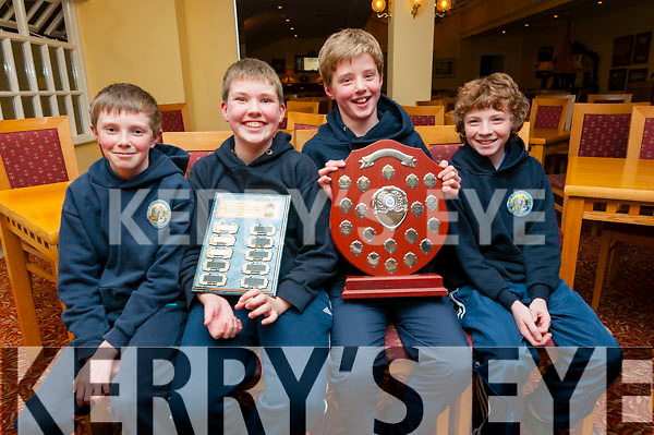 Scoil Naomh Eirc pupils Ciaran Ó Muircheartaigh, Luke Mac Diarmada, Naoise Mac Gearailt and Tomas Ó Sé, overall winners of the Credit Union Table Quiz under 13 which took place at the Benners Hotel, Dingle, on Friday night.