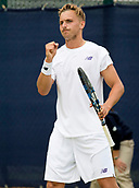 June 13th 2017, Nottingham, England; ATP Aegon Nottingham Open Tennis Tournament day 2;  Lloyd Glasspool of Great Britain celebrates a point on his way to victory over Go Soeda of Japan in two sets