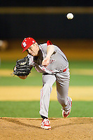 North Carolina State Wolfpack relief pitcher Will Gilbert (27) delivers a pitch to the plate against the Wake Forest Demon Deacons at Wake Forest Baseball Park on March 15, 2013 in Winston-Salem, North Carolina.  The Wolfpack defeated the Demon Deacons 12-6.  (Brian Westerholt/Four Seam Images)