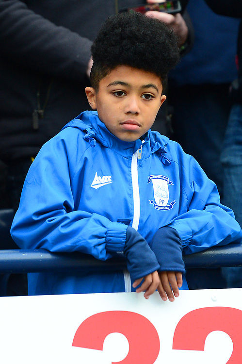 A young Preston North End fan looks on<br /> <br /> Photographer Richard Martin-Roberts/CameraSport<br /> <br /> The EFL Sky Bet Championship - Preston North End v Blackburn Rovers - Saturday 24th November 2018 - Deepdale Stadium - Preston<br /> <br /> World Copyright © 2018 CameraSport. All rights reserved. 43 Linden Ave. Countesthorpe. Leicester. England. LE8 5PG - Tel: +44 (0) 116 277 4147 - admin@camerasport.com - www.camerasport.com
