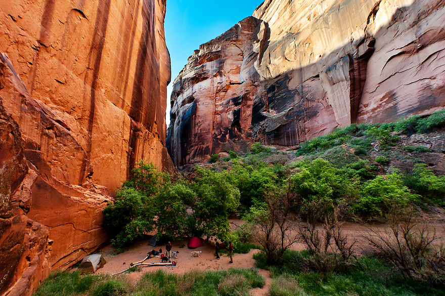 Backpackers set up a camp near the confluence of Buckskin Gulch and the Paria River in southern Utah.