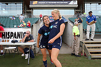Cary, North Carolina  - Saturday June 17, 2017: Samantha Witteman and Makenzy Doniak prior to a regular season National Women's Soccer League (NWSL) match between the North Carolina Courage and the Boston Breakers at Sahlen's Stadium at WakeMed Soccer Park. The Courage won the game 3-1.