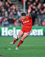 Hendon, England. Ian Keatley of Munster kick a penalty  during the European Rugby Champions Cup match between Saracens and Munster at Allianz Park stadium on January 17, 2015 in Hendon, England.