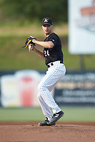 Kannapolis Intimidators starting pitcher Jason Bilous (26) in action against the Delmarva Shorebirds at Kannapolis Intimidators Stadium on June 3, 2019 in Kannapolis, North Carolina. The Shorebirds defeated the Intimidators 5-3. (Brian Westerholt/Four Seam Images)
