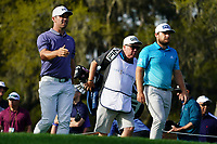 Paul Casey (ENG) and Tyrrell Hatton (ENG) during Round 1 of the Players Championship, TPC Sawgrass, Ponte Vedra Beach, Florida, USA. 12/03/2020<br /> Picture: Golffile   Fran Caffrey<br /> <br /> <br /> All photo usage must carry mandatory copyright credit (© Golffile   Fran Caffrey)