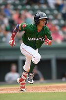 Center fielder Lorenzo Cedrola (35) of the Greenville Drive runs out a batted ball in a game against the Asheville Tourists on Sunday, June 3, 2018, at Fluor Field at the West End in Greenville, South Carolina. Greenville won, 7-6. (Tom Priddy/Four Seam Images)