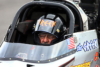 Sep 28, 2013; Madison, IL, USA; NHRA top fuel dragster driver Chris Karamesines during qualifying for the Midwest Nationals at Gateway Motorsports Park. Mandatory Credit: Mark J. Rebilas-