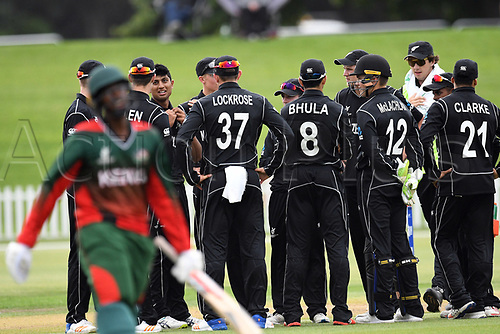 17th January 2018, Hagley Oval, Christchurch, New Zealand; Under 19 Cricket World Cup, New Zealand versus Kenya;  New Zealand's Rachin Ravindra celebrates the wicket of Kenya's Rene Were with his team mates