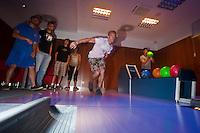 01 June 2010: Quentin Benedek, Quentin Becquey, Kenji Hagiwara, Luc Piquet, Maxime Lefevre, Joris Bert of Rouen playing bowling the day before the start of the 2010 Baseball European Cup in Brno, Czech Republic.