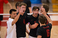 STANFORD, CA - January 2, 2018: Evan Enriques, Eric Beatty, JP Reilly, Russell Dervay, Jacob Thoenen at Burnham Pavilion. The Stanford Cardinal defeated the Calgary Dinos 3-1.