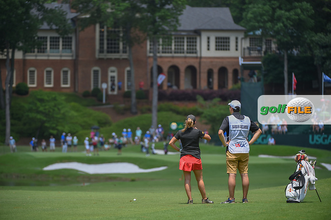 Ceilia Barquin Arozamena (a)(ESP) looks over her approach shot on 18 during round 1 of the U.S. Women's Open Championship, Shoal Creek Country Club, at Birmingham, Alabama, USA. 5/31/2018.<br /> Picture: Golffile | Ken Murray<br /> <br /> All photo usage must carry mandatory copyright credit (© Golffile | Ken Murray)