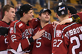Jacob Olson (Harvard - 26), John Marino (Harvard - 12), Clay Anderson (Harvard - 5), Viktor Dombrovskiy (Harvard - 27) - The Harvard University Crimson defeated the Boston University Terriers 6-3 (EN) to win the 2017 Beanpot on Monday, February 13, 2017, at TD Garden in Boston, Massachusetts.