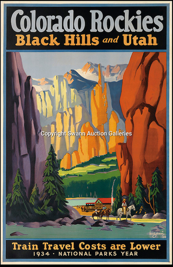 BNPS.co.uk (01202 558833)<br /> Pic: SwannGalleries/BNPS<br /> <br /> ***Please Use Full Byline***<br /> <br /> Colorado Rockies - £4250<br /> <br /> Beautiful posters from the halcyon days of travel up for auction.<br /> <br /> Scarce vintage travel posters promoting holidays across the globe in the 1920's and 30's are tipped to sell for over £200,000 .<br /> <br /> The fine collection of 200 works of art that hark back to the halcyon days of train and boat travel have been brought together for sale.<br /> <br /> The posters were used to advertise dream holiday destinations in far-flung places such as the US and Australia and to celebrate the luxurious ways of getting to them.<br /> <br /> Most of the advertising posters date back to the 1930s and are Art Deco in style and they are all from the original print-run.