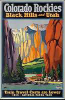 BNPS.co.uk (01202 558833)<br /> Pic: SwannGalleries/BNPS<br /> <br /> ***Please Use Full Byline***<br /> <br /> Colorado Rockies - &pound;4250<br /> <br /> Beautiful posters from the halcyon days of travel up for auction.<br /> <br /> Scarce vintage travel posters promoting holidays across the globe in the 1920's and 30's are tipped to sell for over &pound;200,000 .<br /> <br /> The fine collection of 200 works of art that hark back to the halcyon days of train and boat travel have been brought together for sale.<br /> <br /> The posters were used to advertise dream holiday destinations in far-flung places such as the US and Australia and to celebrate the luxurious ways of getting to them.<br /> <br /> Most of the advertising posters date back to the 1930s and are Art Deco in style and they are all from the original print-run.