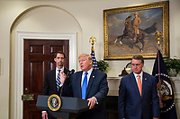 "United States President President J. Donald Trump makes an announcement on the introduction of the Reforming American Immigration for a Strong Economy (RAISE) Act with US Senator Tom Cotton (Republican of Arkansas), left, and US Senator David Perdue (Republican of Georgia), right, in the Roosevelt Room at the White House in Washington, D.C., U.S., on Wednesday, August 2, 2017. The act aims to overhaul U.S. immigration by moving towards a ""merit-based"" system. Photo Credit: Zach Gibson/CNP/AdMedia"