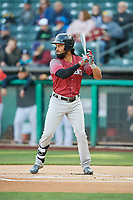 Henry Ramos (51) of the Sacramento River Cats bats against the Salt Lake Bees at Smith's Ballpark on April 12, 2019 in Salt Lake City, Utah. The River Cats defeated the Bees 4-2. (Stephen Smith/Four Seam Images)