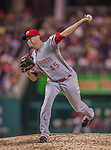 20 May 2014: Cincinnati Reds pitcher Sean Marshall on the mound against the Washington Nationals at Nationals Park in Washington, DC. The Nationals defeated the Reds 9-4 to take the second game of their 3-game series. Mandatory Credit: Ed Wolfstein Photo *** RAW (NEF) Image File Available ***