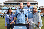 CHAPEL HILL, NC - NOVEMBER 18: UNC's Bentley Spain was honored as part of Senior Day pregame activities. The University of North Carolina Tar Heels hosted the Western Carolina University Catamounts on November 18, 2017 at Kenan Memorial Stadium in Chapel Hill, NC in a Division I College Football game. UNC won the game 65-10.