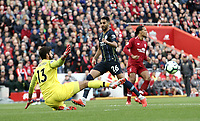 Liverpool's Alisson Becker denies Manchester City's Riyad Mahrez but the attack was ruled off-side anyway<br /> <br /> Photographer Rich Linley/CameraSport<br /> <br /> The Premier League - Liverpool v Manchester City - Sunday 7th October 2018 - Anfield - Liverpool<br /> <br /> World Copyright &copy; 2018 CameraSport. All rights reserved. 43 Linden Ave. Countesthorpe. Leicester. England. LE8 5PG - Tel: +44 (0) 116 277 4147 - admin@camerasport.com - www.camerasport.com