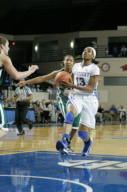 Sophomore guard Bria Goss goes for a layout in the second half of the UK vs USC Upstate in Memorial Colosseum in Lexington, Ky., on Sunday, November 25th, 2012. Photo by Logan Douglas | Staff.