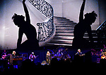 Fleetwood Mac performed as images were played on a huge backdrop behind them at the Enterprise Center in downtown St. Louis on Saturday October 20, 2018.<br /> Photo by Tim Vizer