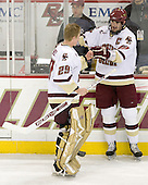 Joe Pearce (BC - 29), Brian Boyle (BC - 10) - The Boston College Eagles defeated the visiting Northeastern University Huskies 7-1 on Friday, March 9, 2007, to win their Hockey East quarterfinals matchup in two games at Conte Forum in Chestnut Hill, Massachusetts.