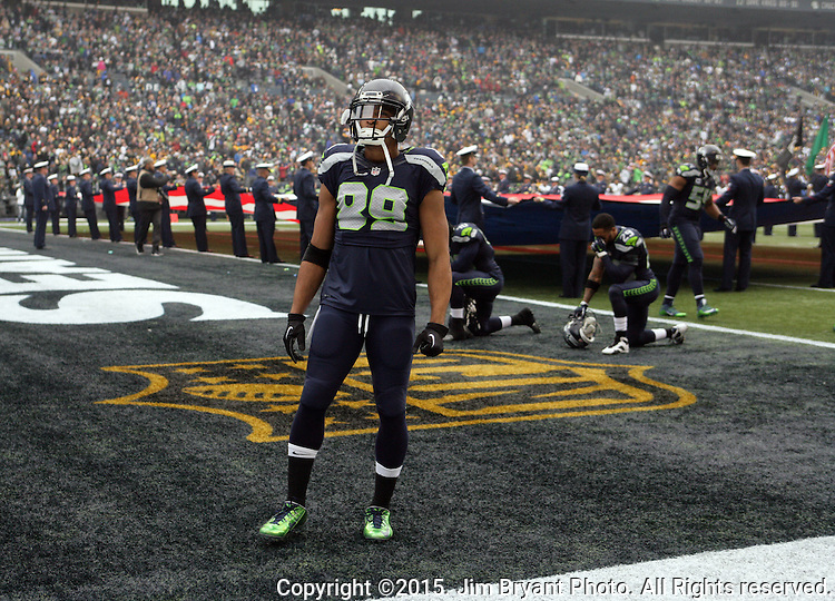 Seattle Seahawks wide receiver Doug Baldwin surveys the crowd before their game against the Pittsburgh Steelers at CenturyLink Field in Seattle, Washington on November 29, 2015.  The Seahawks beat the Steelers 39-30.      ©2015. Jim Bryant Photo. All Rights Reserved.
