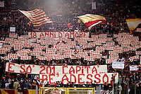 Calcio, Serie A: Roma-Juventus. Roma, stadio Olimpico, 3 aprile 2011..Football, Italian serie A: AS Roma vs Juventus. Rome, Olympic stadium, 3 april 2011..AS Roma fans exhibit banners to celebrate team's captain Francesco Totti..UPDATE IMAGES PRESS/Riccardo De Luca