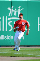Buffalo Bisons outfielder Ryan Langerhans #23 tracks down a fly ball during a game against the Charlotte Knights on May 19, 2013 at Coca-Cola Field in Buffalo, New York.  Buffalo defeated Charlotte 11-6.  (Mike Janes/Four Seam Images)