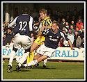31/8/02       Collect Pic : James Stewart                     .File Name : stewart-falkirk v qots 07.ROBBIE NIELSON BUNDLES FAKIRK'S LEE MILLER OFF THE BALL.....James Stewart Photo Agency, 19 Carronlea Drive, Falkirk. FK2 8DN      Vat Reg No. 607 6932 25.Office : +44 (0)1324 570906     .Mobile : + 44 (0)7721 416997.Fax     :  +44 (0)1324 570906.E-mail : jim@jspa.co.uk.If you require further information then contact Jim Stewart on any of the numbers above.........