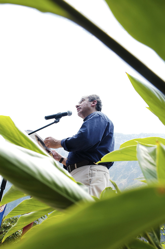 Felipe Calderon addressing supporters on environmental conservation at the Sumidero Canyon park. Friday's visit to the park was part of Calderon's campaign tour of the state of Chiapas. Calderon is surging ahead in the Mexican presidential elections.