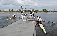 Brandenburg. GERMANY. GBR crews prepare to boat for a training session at the <br /> 2016 European Rowing Championships at the Regattastrecke Beetzsee<br /> <br /> Wednesday  04/05/2016<br /> <br /> [Mandatory Credit; Peter SPURRIER/Intersport-images]