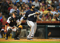 Apr. 30, 2011; Houston, TX, USA: Milwaukee Brewers batter Prince Fielder hits a solo home run in the ninth inning against the Houston Astros at Minute Maid Park. The Astros defeated the Brewers 2-1. Mandatory Credit: Mark J. Rebilas-