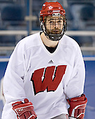 Matthew Ford - The University of Wisconsin Badgers practiced on Friday, April 7, 2006, at the Bradley Center in Milwaukee, Wisconsin.  The following evening the Badgers defeated Boston College 2-1 to win the Title.