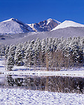 Fresh snow blankets Tahosa Valley beneath Longs Peak, Rocky Mtns, CO
