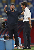Gennaro Gattuso coach of SSC Napoli and Simone Inzaghi coach of SS Lazio greet each other <br /> during the Serie A football match between SSC  Napoli and SS Lazio at stadio San Paolo in Naples ( Italy ), August 01st, 2020. Play resumes behind closed doors following the outbreak of the coronavirus disease. <br /> Photo Cesare Purini / Insidefoto