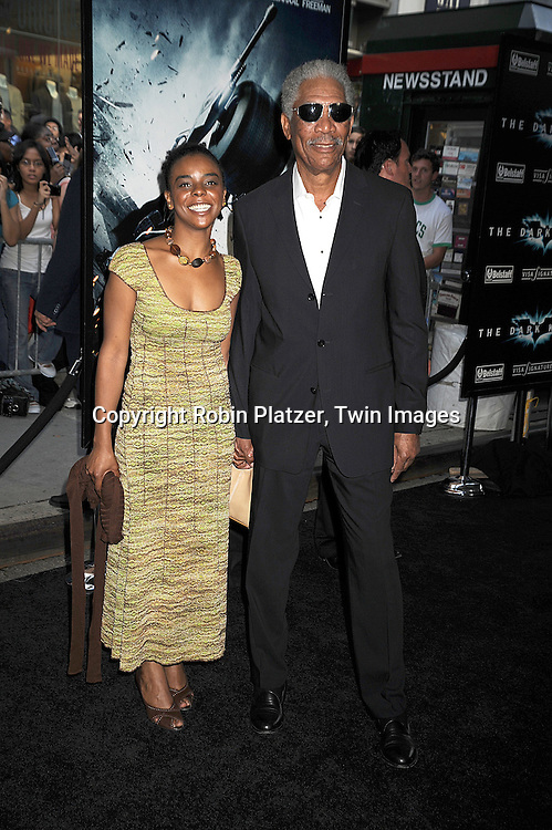 "Morgan Freeman and granddaughter..posing at The World Premiere of ""The Dark Knight""  on July 14, 2008 at The AMC Loews Lincoln Square in New York City.  The premiere was sponsered by VISA and Belstaff.....Robin Platzer, Twin Images"