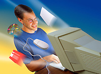 Digital illustration: a smiling man at a fast computer.