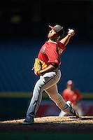 Arizona Diamondbacks pitcher Jose Almonte (19) during an Instructional League game against the Oakland Athletics on October 15, 2016 at Chase Field in Phoenix, Arizona.  (Mike Janes/Four Seam Images)