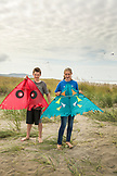 USA, Washington State, Long Beach Peninsula, International Kite Festival, brother and sister at the festival