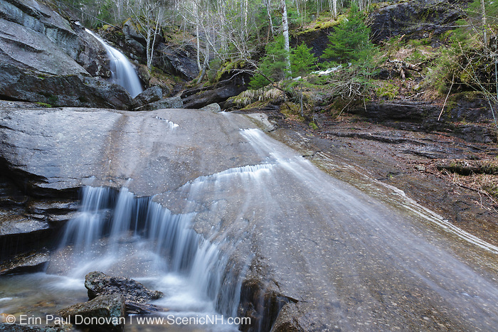 Bridal Veil Falls on Coppermine Brook in Franconia, New Hampshire during the spring months. This waterfall looks great during the spring snowmelt and after times of heavy rains.