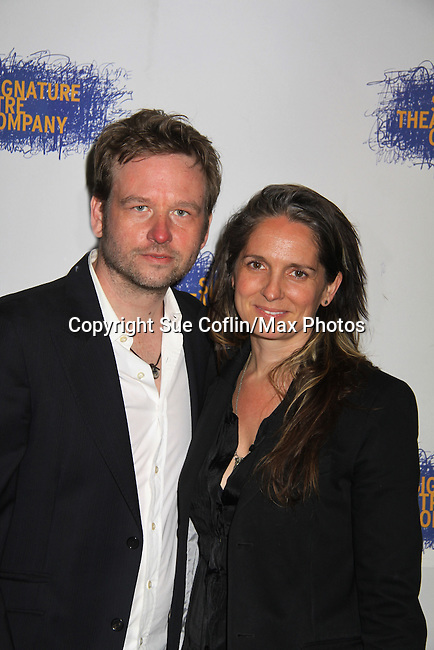 "One Life To Live Christine Jones ""Pamela Stuart"", General Hospital (Tracy Quartermains Williams"", Ryan's Hope and Another World & hubby Dallas Roberts at the Opening Night party of Signature Theatre Company's ""The Illusion"" on June 5, 2001 at the West Bank Cafe with the play at the Peter Norton Space, New York City, New York.  (Photo by Sue Coflin/Max Photos)"