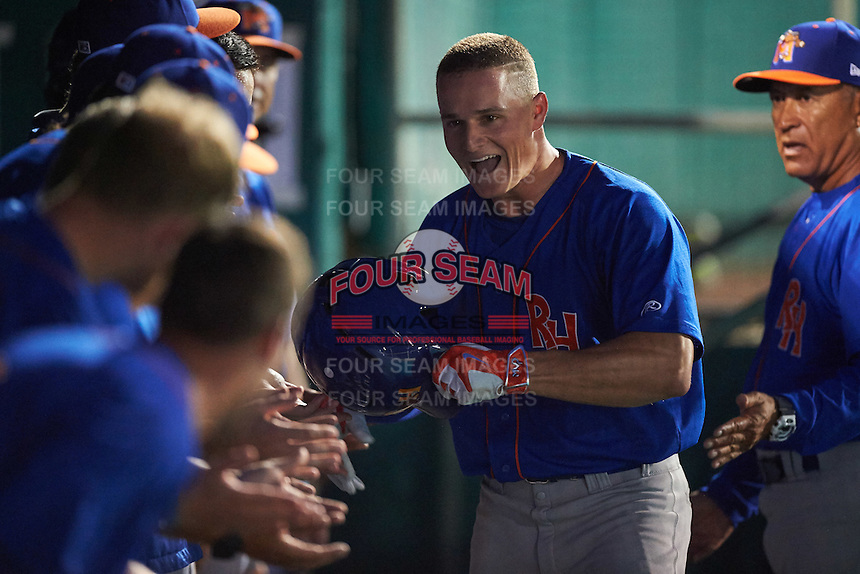 Midland RockHounds third baseman Matt Chapman (7) is congratulated by teammates after hitting a home run during a game against the San Antonio Missions on April 21, 2016 at Nelson W. Wolff Municipal Stadium in San Antonio, Texas.  Midland defeated San Antonio 9-2.  (Mike Janes/Four Seam Images)