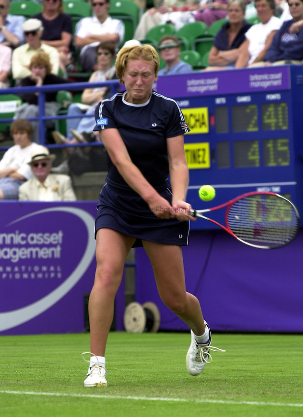 Photo. Rene Solari..19/6/01  .Eastbourne Day 2. Elena Baltacha shows grit and  determination as she gets beaten in the 1st round by Spanish Conchita Martinez....